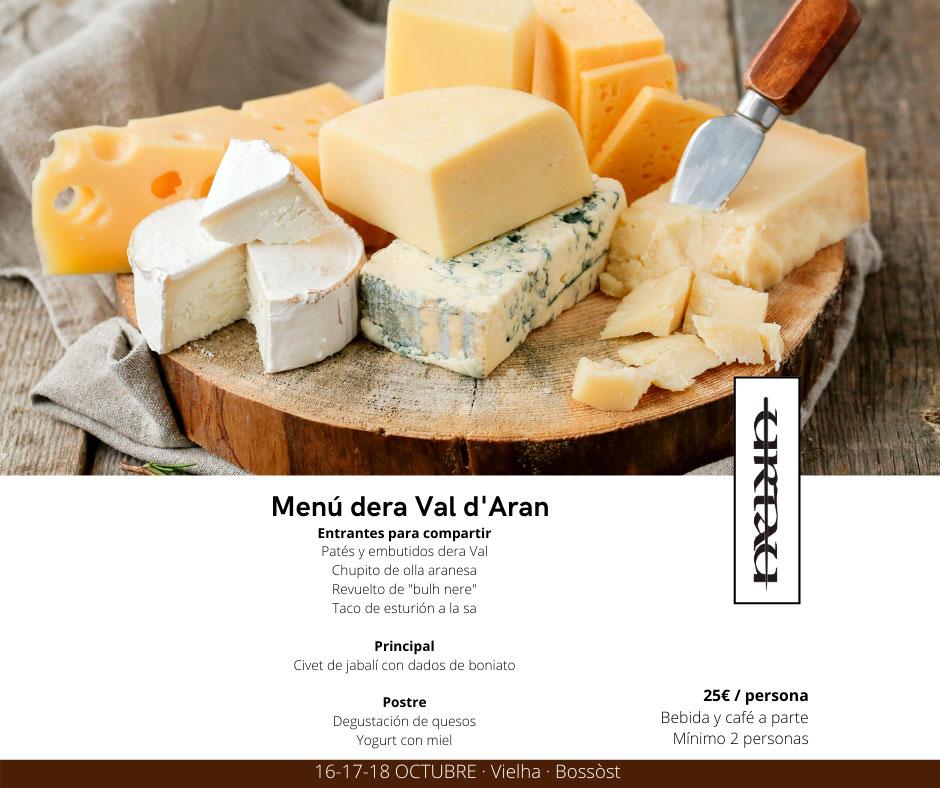 Menú productos dera Val d'Aran en Tauerna Urtau